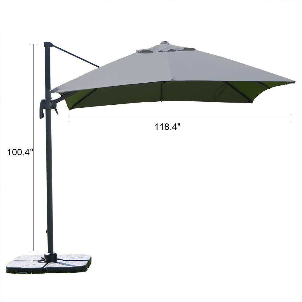 ROSE GARDEN Patio Cantilever Umbrella 10 Feet Outdoor Living Umbrella with Strong Sturdy Hand Push Round, 360 Rotated, 8 Metal Ribs, UV Resistant, Gray