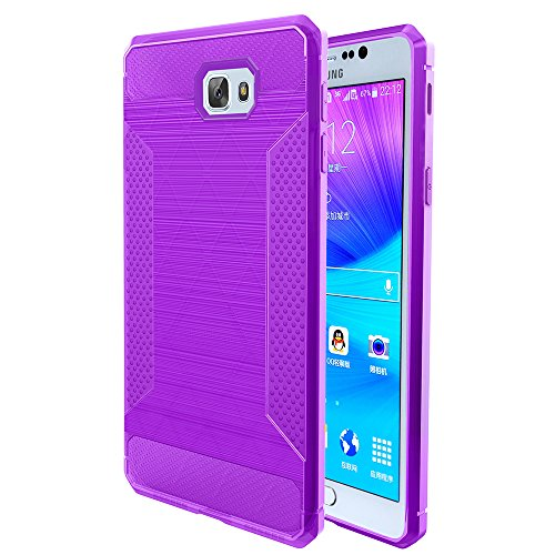 J5 Prime Case,Galaxy On5 2016 Case,DAMONDY Slim Brushed Carbon Bumper Non Slip Fiber Rubber Shock Soft Hybrid Skin Silicone Protective Case Cover For Samsung Galaxy On5 (2016)-pansy