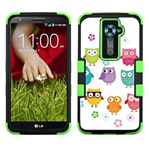 One Tough Shield ? 3-Layer Hybrid phone Case (Black/Green) for LG Optimus G2 - (Happy Owl)
