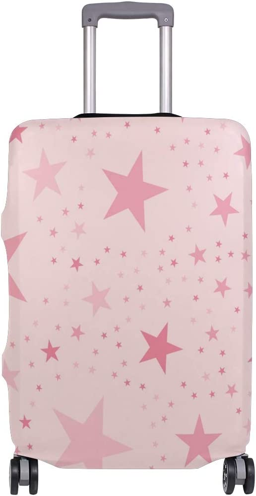 Travel Luggage Cover Pink Stars Pattern Romantic Suitcase Protector