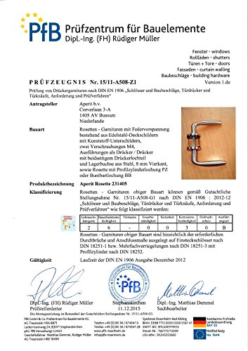 PVD Nickel matt geb/ürstet T/ürbeschl/äg T/ürdr/ücker Garnitur EMS mit BB Schl/üssel Rosetten rund