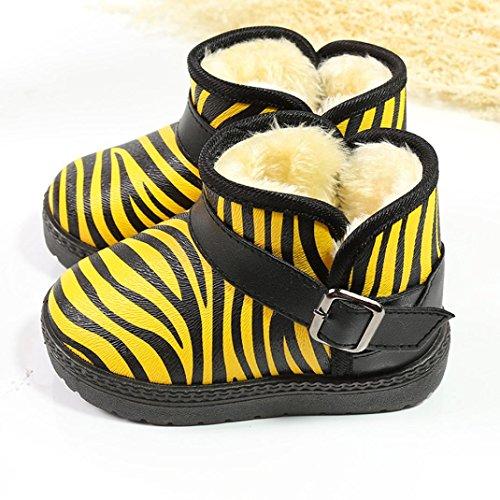 Clode® Kleinkind Kinder Baby Zebra Muster Mädchen Jungen Schuhe Winter Martin Schnee Stiefel Schuhe Gelb
