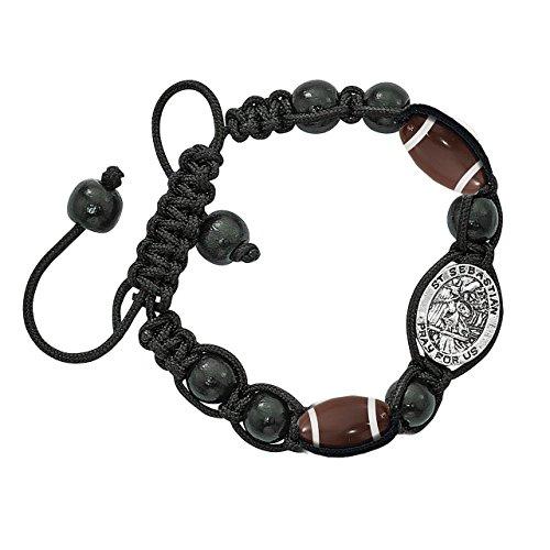 Religious Sports Football Bead Bracelet with Silver Toned Saint Sebastian Medal, 8 inch ()
