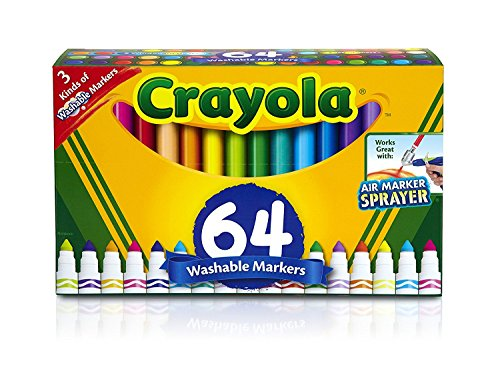 Crayola Washable Markers, 64 ct. Variety Set, Gel Markers, Broad Line Markers, Window Markers, Back-to-School Gift ()