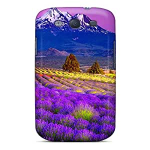 New Premium Flip Cases Covers Lavender Field In The Foot Of The Mountain Skin Cases For Galaxy S3