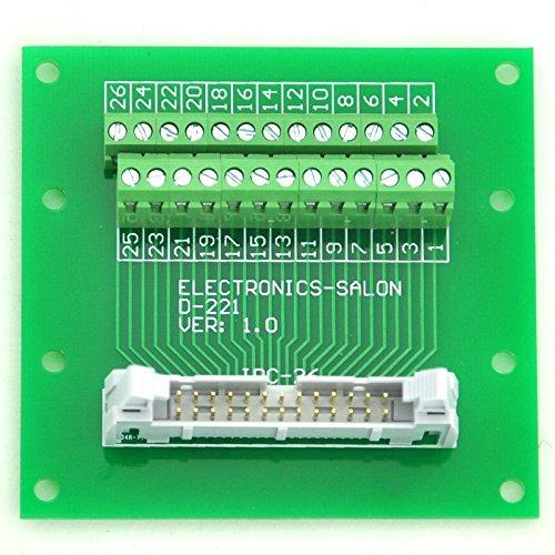 Electronics-Salon IDC26 2x13 Pins 0.1'' Male Header Breakout Board, Terminal Block, Connector.