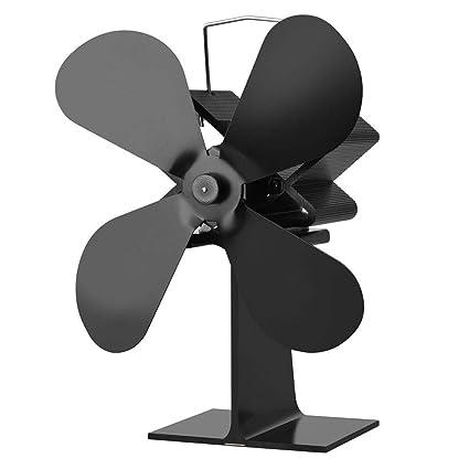 ZAK168 Ventilador de Estufa, Funcionamiento silencioso, Ventilador de Estufa de 4 Hojas Alimentado por