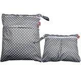Damero 2pcs Wet and Dry Cloth Diaper Bag, Travel Packing Organizer with Handle for Cloth Diaper, Pumping Parts, Clothes and More, Easy to Grab and Go, Gray Dots