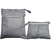Damero 2pcs Travel Wet and Dry Bag with Handle for Cloth Diaper, Pumping Parts, Clothes, Swimsuit and More, Easy to Grab and Go, Gray Dots