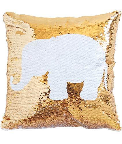 ANKIT Mermaid Pillow Reversible Sequin Pillow That Changes Color - Elephant Gold