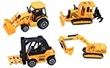 ToyZe 5 Inch Metal Diecast Construction Vehicle Set, Bulldozer, Forklift, Front Loader Tractor, And Excavator. 4 Pack (Ages 3+)
