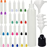 60ml bottle - 60mL Unicorn Pen LDPE Plastic Dropper Bottle - Long thick Tip 25 Pack - CRC Child Resistant Cap - BPA Free Squeezable PE Bottles (25, Multicolor) (Colored cap, 60ml x 25pcs)