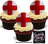 12 x Euro's World Cup England English Flag Footballs - Fun Novelty Birthday PREMIUM STAND UP Edible Wafer Card Cake Toppers Decoration