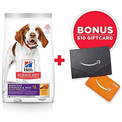 Hill's Science Diet Grain Free Dry Dog Food, Adult, Sensitive Stomach & Skin, Chicken & Potato Recipe, 24 lb Bag w/Amazon Gift Card