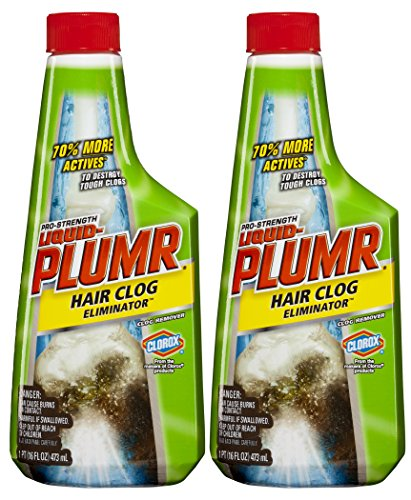 Liquid-Plumr Pro-Strength Clog Remover, Hair Clog Eliminator, 32 Fluid Ounces Total (Pack of 2)