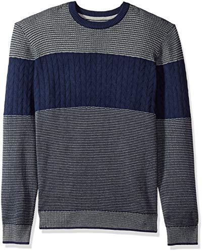 - IZOD Men's Colorblock Jacquard 9 Gauge Crewneck Sweater, Peacoat, Small