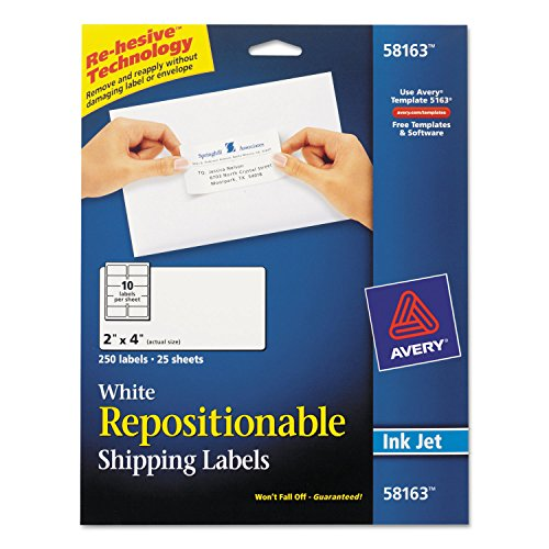 AVERY-DENNISON 58163 Repositionable Shipping Labels for Laser Printers, 2quot; x 4quot, White, 250/Box