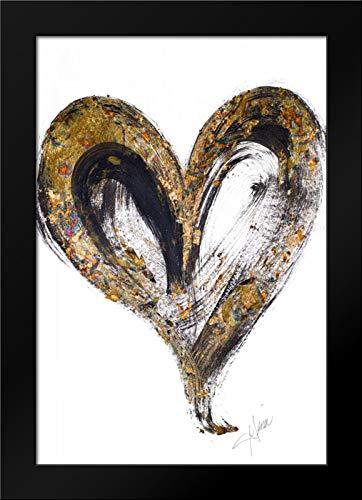 Heart Small Framed Print - Gold and Black Heart Framed Art Print by Ritter, Gina