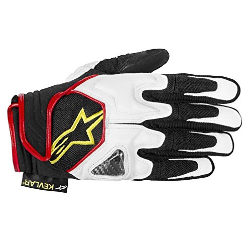 Alpinestars SCHEME KEVLAR glove BLACK WHITE YELLOW FLUO L Alpinestars Scheme Kevlar Gloves
