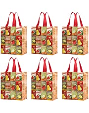 Earthwise Reusable Grocery Bags Shopping - Totes (Pack of 6)