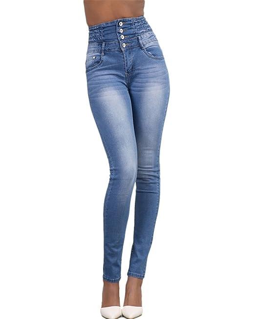 9b16bc469f Kasen Donna Jeans Vita Alta Sottile Fit Magro Jeans Lunghi Matita Pantaloni