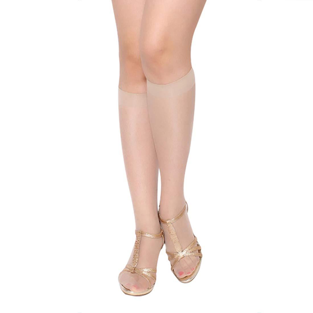 Durio 10 Pairs Knee High Socks Sheer Stockings Silky Pantyhose Soft Lace Nylon Dress Socks for Women
