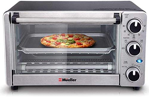 Toaster Oven 4 Slice, Multi-function Stainless Steel Finish with Timer - Toast - Bake - Broil Settings, Natural Convection - 1100 Watts of Power, Includes Baking Pan and Rack via Mueller Austria