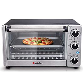 Toaster Oven 4 Slice, Multi-function Stainless Steel Finish with Timer – Toast – Bake – Broil Settings, Natural…