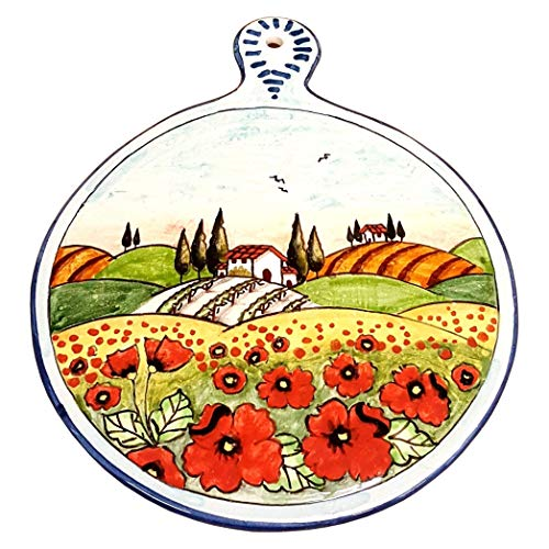 (CERAMICHE PARRINI - Italian Ceramic Art Kitchenware Tile Trivet Pottery Decorated Landscape Tuscan Poppies Hand Painted Made in ITALY)