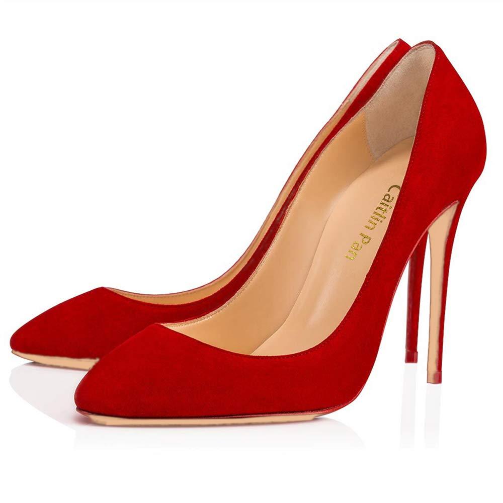 Caitlin Pan Bal Femmes EscarpinsTalons de Hauts Slip on 6,5CM Bout Pointu/Bout Ouvert Semelle Rouge 6,5CM/10 CM/12 CM Pompes Talon Aiguille Chaussures de Bal Daim Rouge-10cm/Semelle Rouge a1c77ab - reprogrammed.space