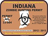 Indiana zombie hunting permit decal bumper sticker