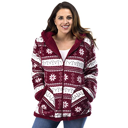 TrailCrest Ladies Smart Plush Sherpa Lined Hooded Sweater Jacket - Zip-Up Classic Pattern Burgundy