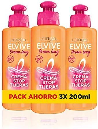L'Oreal Paris Elvive Dream Long Crema Stop Tijeras, para cabellos dañados - pack de 3 unidades x 200 ml