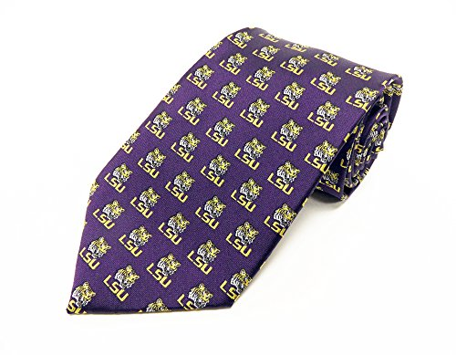 NCAA LSU Tigers Repeating Primary Necktie, Purple, One Size (Neck Lsu Ties)