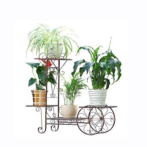 (Jane European Small cart Flower Stand Simple Modern Style Wrought Iron Multi-Layer Living Room Hanging Orchid Green Radish Shelf Balcony Indoor Floor Garden Pot Rack (Color : Black))