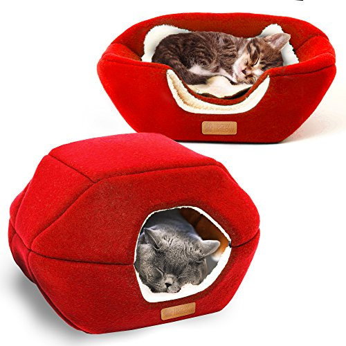 - Bow Meow Premium Pet Bed/Cave, Cat Bed Cave, Small Dog Bed, 2-in-1 Foldable, Soft, Warm, Washable pet Bed a Pillow. (18