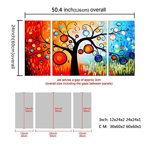 FLY SPRAY 3-Piece 100% Hand-Painted Oil Paintings Artworks Panels Stretched Framed Ready Hang Colorful Tree Flora Ring Circle Modern Abstract Canvas Living Room Bedroom Office Wall Art Home Decor