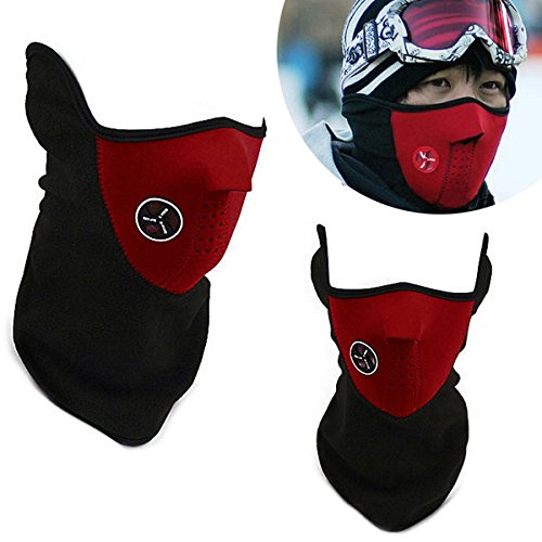 MassMall Neoprene Winter Snowboard Ski Half Face Mask Soft Cotton Fleece Neck Ear Warmer Protection Vented Fitted Velcro Adjustable Close Biker Motorcycle Facemask (Red)