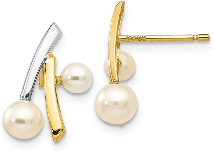 14k with Rhodium Polished FW Cultured Pearl Fancy Post Earrings Length 14 Width 7