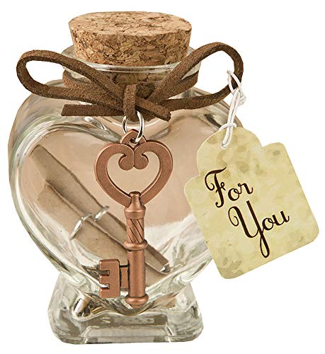 Fashioncraft Glass heart message Jar with copper metal key accent