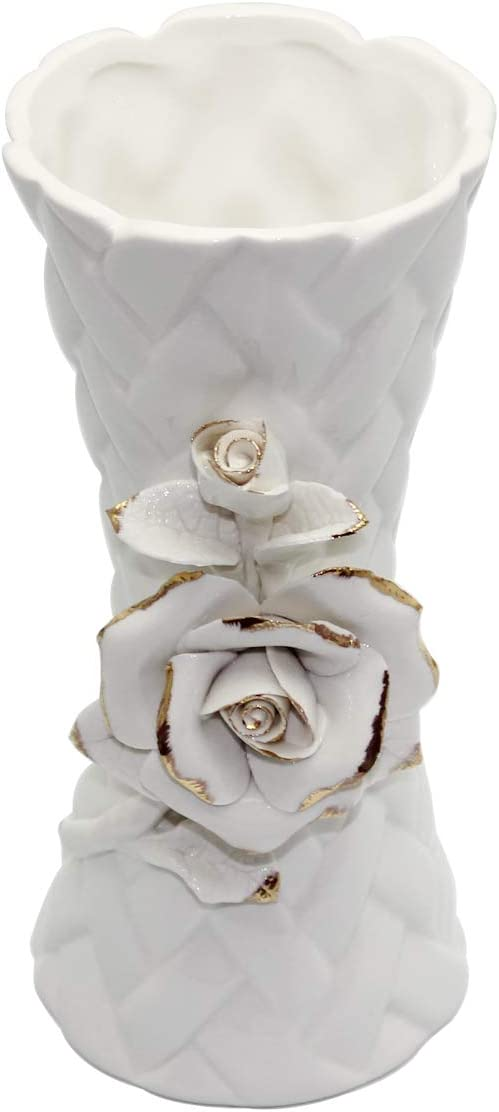 QPURP White Ceramic Flower Vase Ideal Gift for Centerpieces,Weddings, Party, Home 7.75