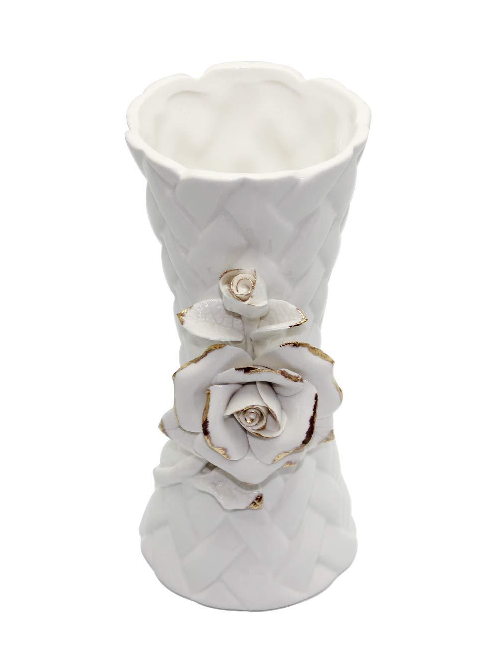 QPURP White Flower Vase Ideal Gift for Weddings, Party, Home,Ceramic 7.75''