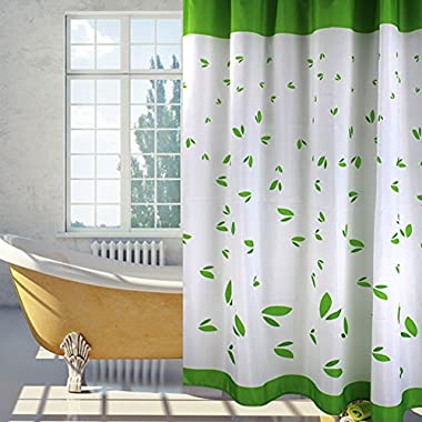 Sfoothome Shower Curtain , Bright Green Leaves , Polyester Fabric , 72inch*78inch