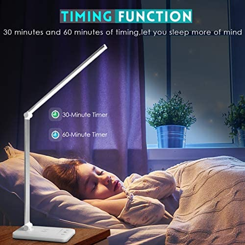 LED Desk Lamp with Wireless Charger,USB Charging Port,JOSTIC Desk Lamps for Home Office,Desk Lighting with 5 Brightness Level,5 Lighting Modes,Reading Eye-Caring Lamp,Touch Control,30/60min Auto Timer