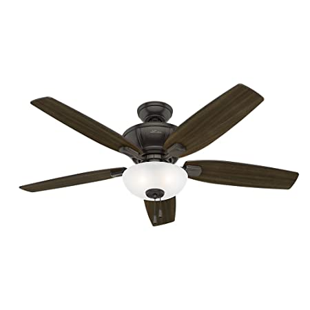 Hunter Indoor Ceiling Fan with LED Light and pull chain control – Kenbridge 52 inch, Nobel Bronze, 53376