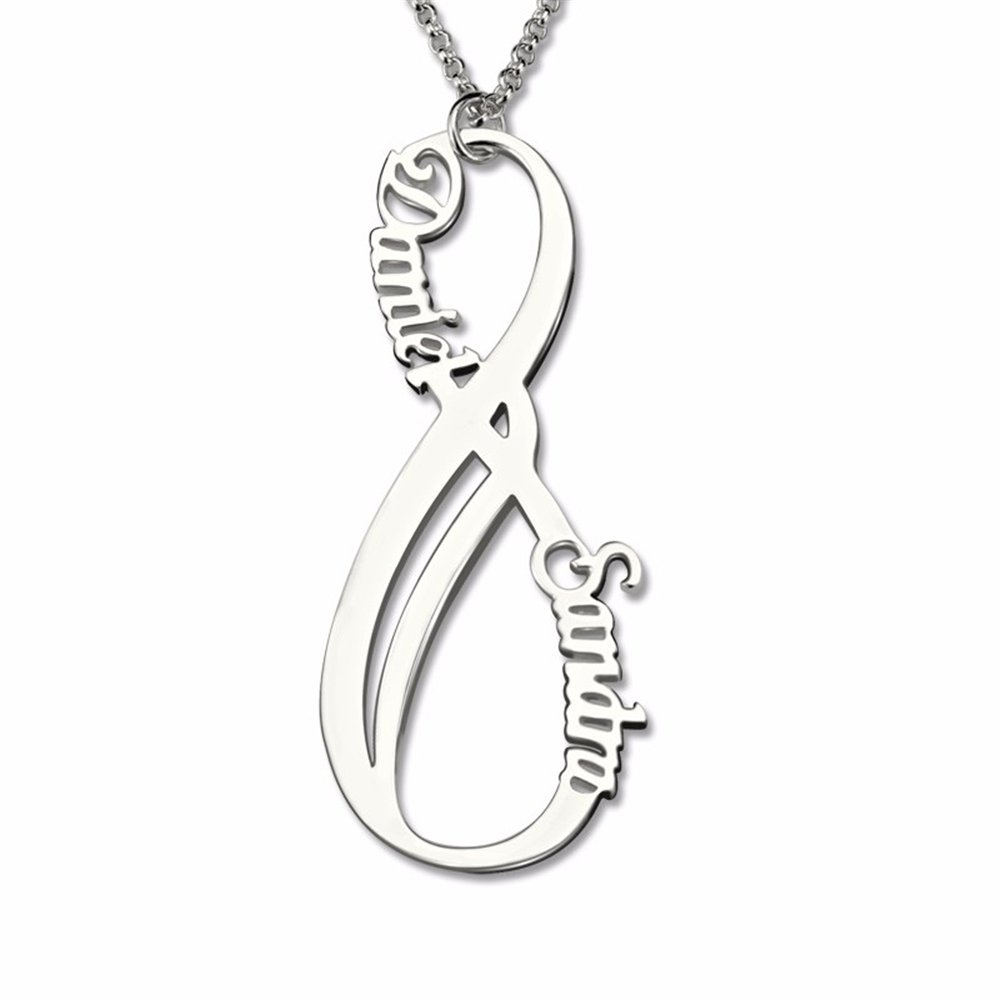Vertical Infinity Stamped Two Names Solid Silver Jewelry Two Birthstone Nameplate Customized Necklace
