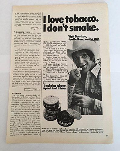 1975 Walt Garrison Skoal Smokeless Tobacco Magazine Print Advertisement