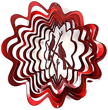 WorldaWhirl Whirligig 3D Wind Spinner Hand Painted Stainless Steel Cardinal 6.5 Inch, Red