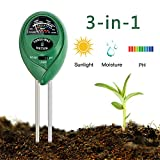 Enviroment Soil Meter, 3-in-1 Soil Test Kit for Rapitest Plant PH Moisture Meter Light with Garden Indoor or Outdoor Various Plants Care-No Battery Needed