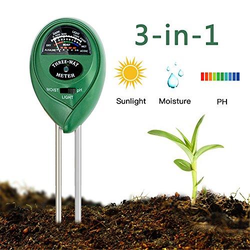 Digital Soil Meter Moisture (Enviroment Soil Meter, 3-in-1 Soil Test Kit for Rapitest Plant PH Moisture Meter Light with Garden Indoor or Outdoor Various Plants Care-No Battery Needed)
